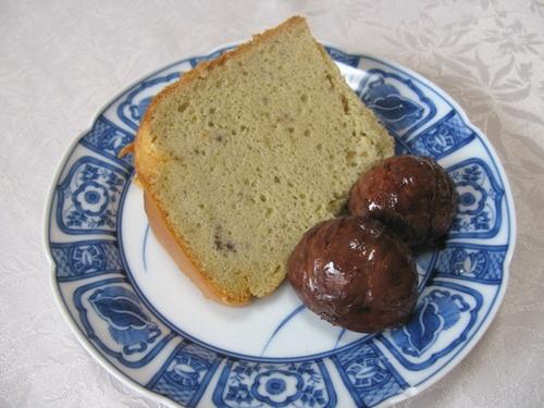 渋皮煮添え 栗のシフォンケーキ